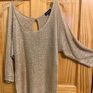 Bebe sparkly gold sequined cold shoulder blouse